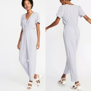 Old Navy Stripes Button Front Jumpsuit